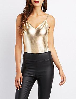Metallic Backless Bodysuit