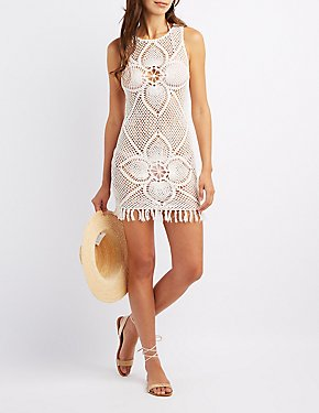 Fringe-Hem Macrame Shift Dress