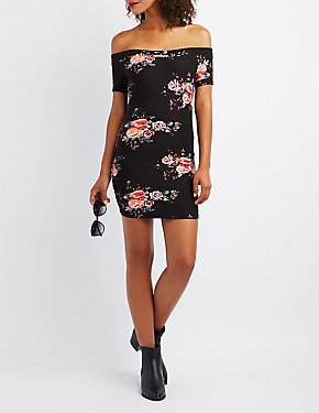Floral Off-The Shoulder Bodycon Dress