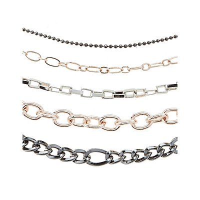 Plus Size Chainlink Choker Necklaces - 5 Pack
