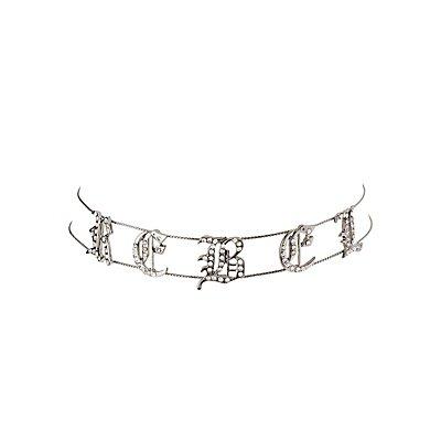 Plus Size Embellished Rebel Choker Necklace
