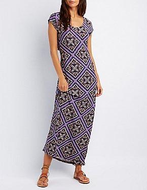 Printed Open Back Maxi Dress