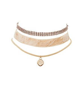 Plus Size Velvet, Charm & Chainmail Choker Necklaces - 3 Pack