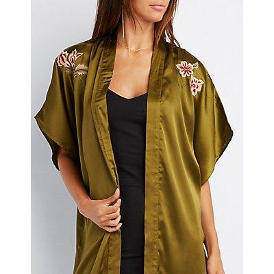 Embroidered Satin Duster Kimono