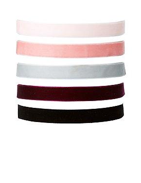 Plus Size Velvet Choker Necklaces - 5 Pack