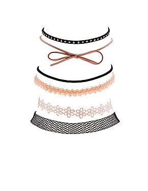 Plus Size Crochet, Faux Suede & Mesh Choker Necklaces - 6 Pack