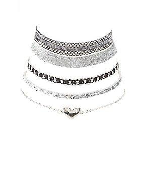 Plus Size Heart & Sparkle Choker Necklaces - 5 Pack