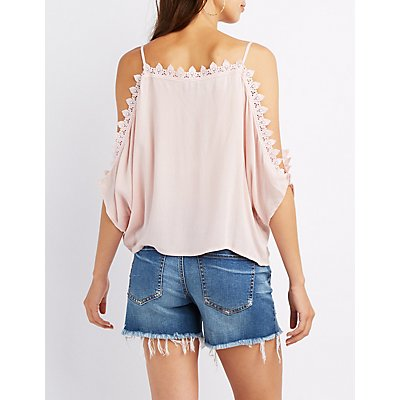 Crochet-Trim Split Sleeve Cold Shoulder Top