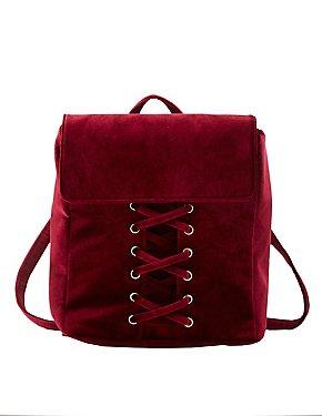 Velvet Lattice-Front Backpack