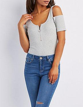 Ribbed Cold Shoulder Zip-Up Bodysuit