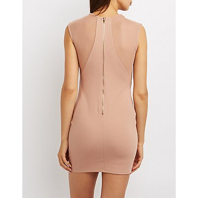 Mesh Inset Cut-Out Bodycon Dress