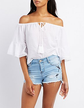 Embroidered Destroyed Denim Cut-Off Shorts