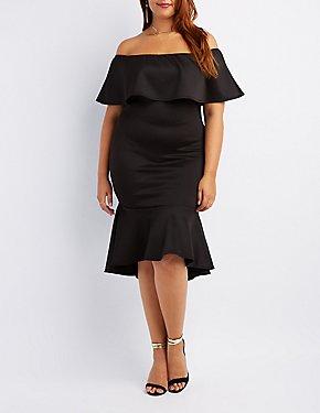 Plus Size Off-The-Shoulder Flounce Dress