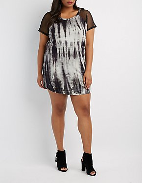 Plus Size Tie Dye & Mesh T-Shirt Dress