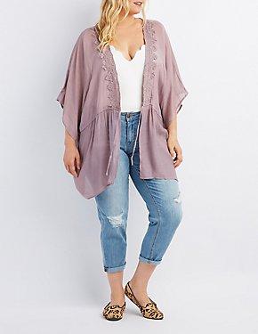 Plus Size Crochet-Trim Tie-Front Kimono