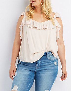 Plus Size Ruffle-Trim V-Neck Tank Top