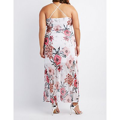 Plus Size Floral Mesh Maxi Dress