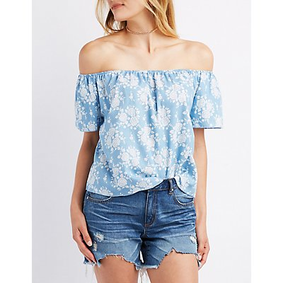 Floral Chambray Off-The-Shoulder Top