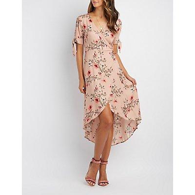 Floral High-Low Wrap Dress