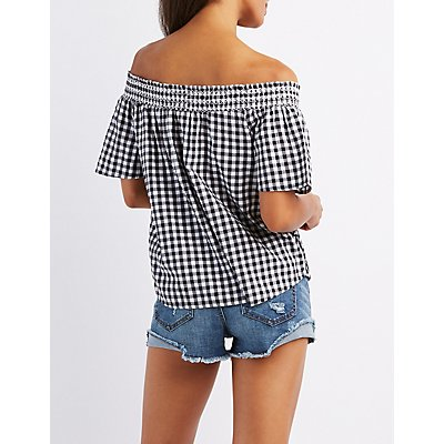 Gingham Off-The-Shoulder Lace-Up Top