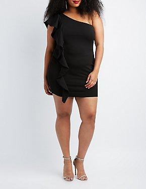 Plus Size Ruffle-Trim One Shoulder Bodycon Dress