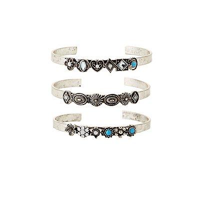 Embellished Cuff Bracelets - 3 Pack