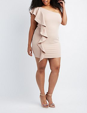 Plus Size Ruffle One-Shoulder Bodycon Dress