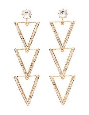 Embellished Triangle Drop Earrings
