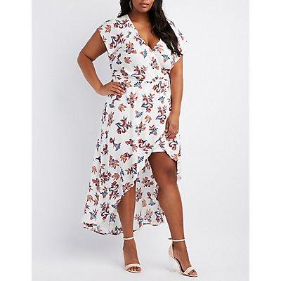 Plus Size Floral Surplice Maxi Wrap Dress