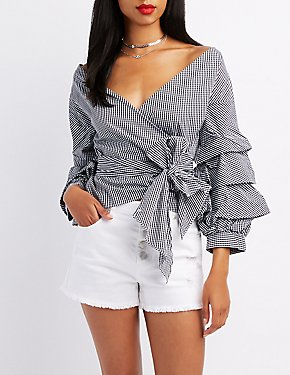 Gathered Sleeve Wrap Top
