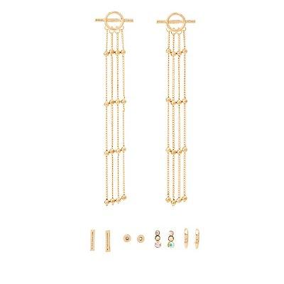 Embellished Stud & Tassel Earrings - 10 Pack