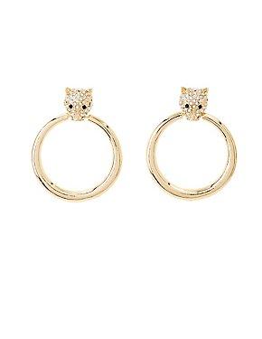 Crystal Panther Hoop Earrings