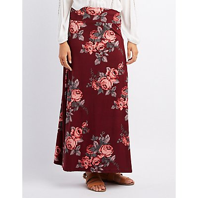 Floral Foldover Maxi Skirt