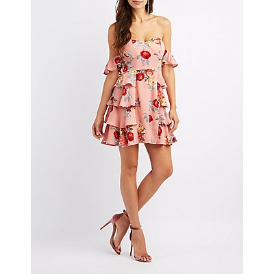 Floral Off-The-Shoulder Bustier Dress