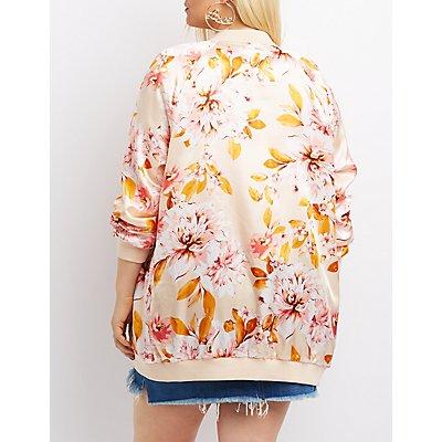 Plus Size Floral Satin Longline Bomber Jacket