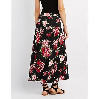 Floral Foldover Maxi Skirt