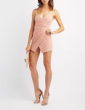 Strappy Surplice Asymmetrical Skirt Romper