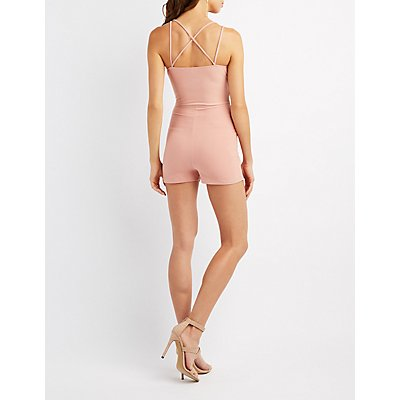 Strappy Surplice Asymmetrical Skirt Romper