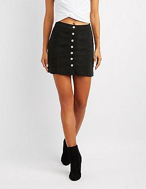 Button-Up Corduroy Mini Skirt