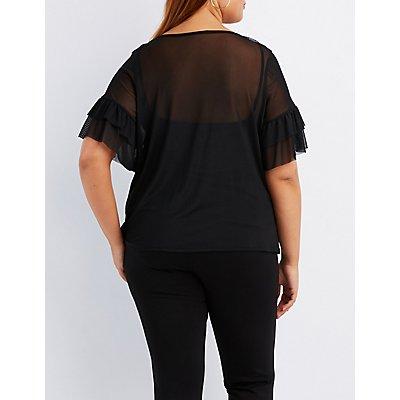 Plus Size Ruffle-Trim Mesh T-Shirt