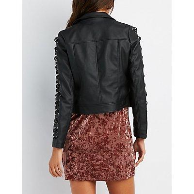 Lace-Up Detail Faux Leather Jacket