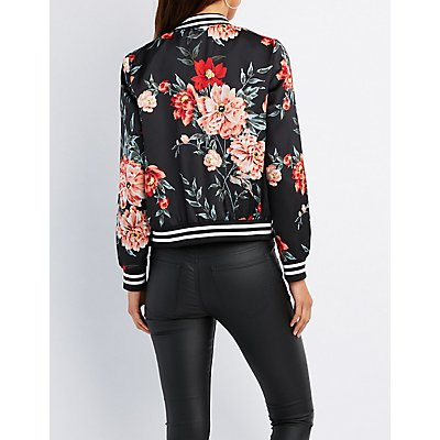 Floral Striped Bomber Jacket