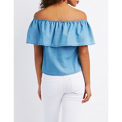 Destroyed Chambray Off-The-Shoulder Top