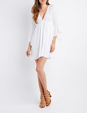 Crochet-Trim Bell Sleeve Skater Dress