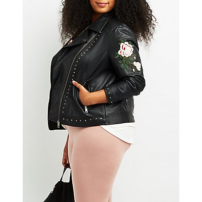 Plus Size Embroidered Faux Leather Studded Jacket