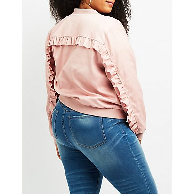 Plus Size Satin Ruffle-Trim Bomber Jacket