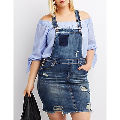 Plus Size Refuge Destroyed Overall Dress