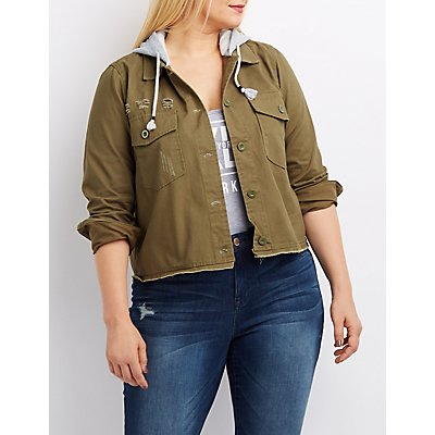 Plus Size Hooded Destroyed Twill Jacket