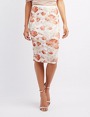 Floral Mesh Bodycon Skirt