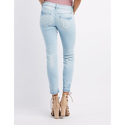 Destroyed Released Hem Skinny Jeans
